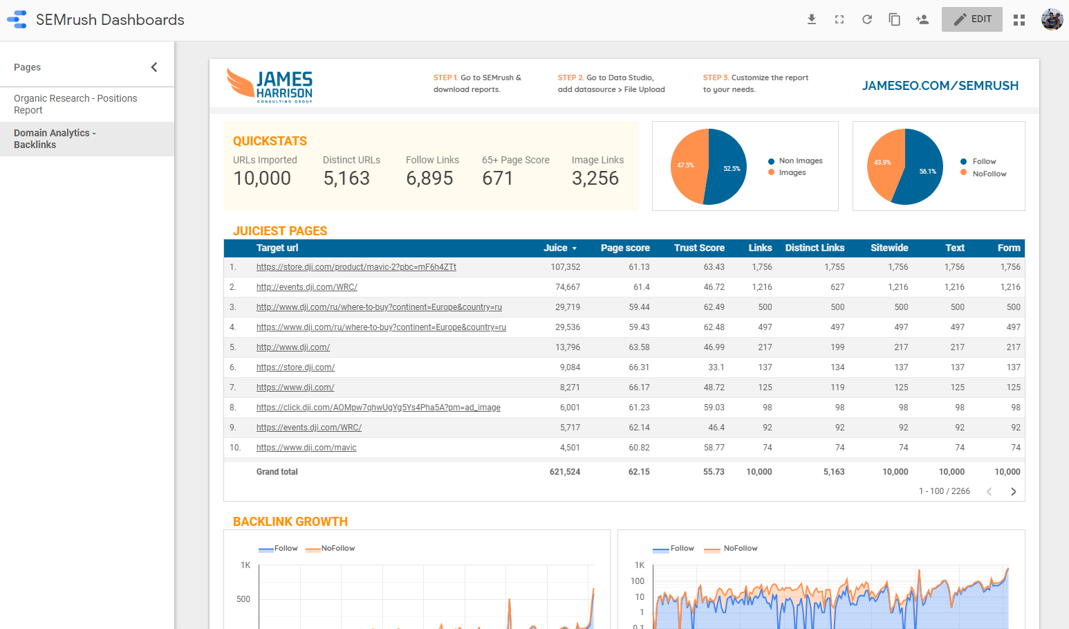 James Harrison - SEO Dashboard in Google Data Studio with SEMrush Data